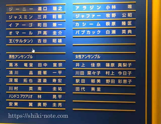 劇団四季アラジンキャストボード