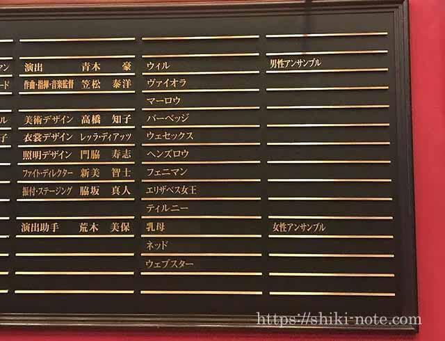 劇団四季『恋に落ちたシェイクスピア』キャストボード